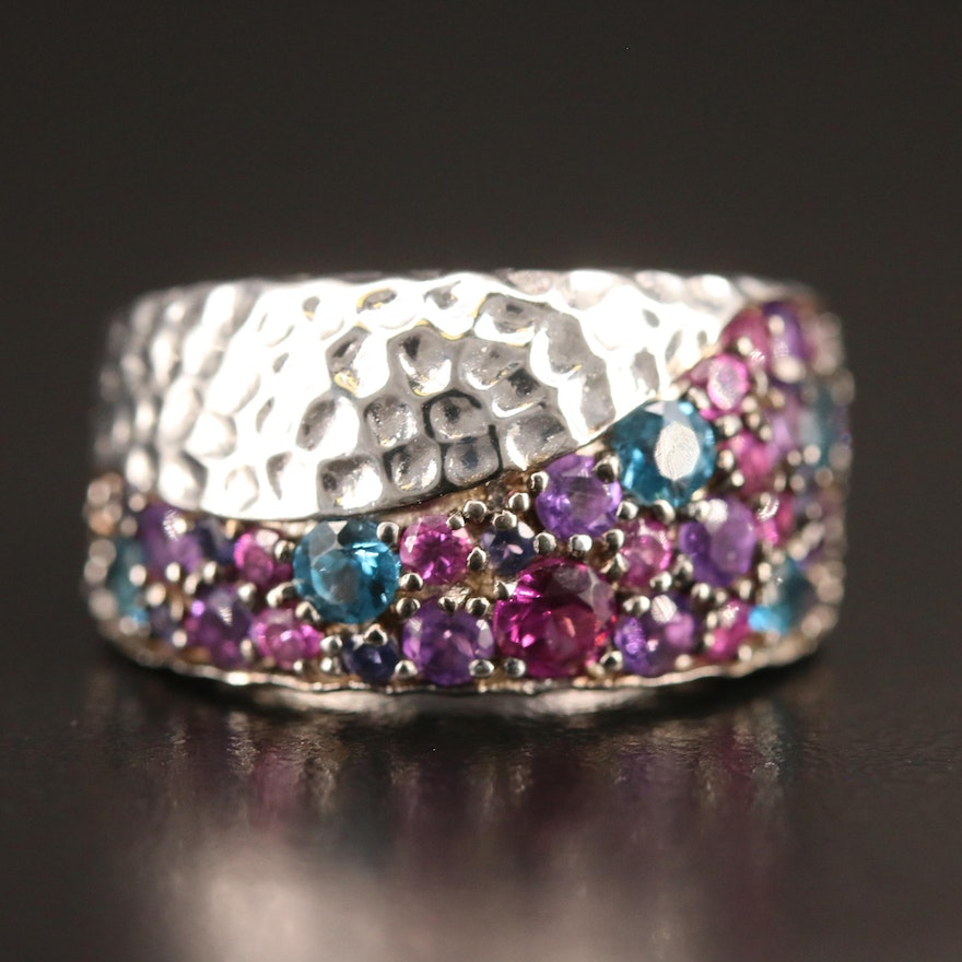SeidenGang Sterling Silver Hammered Finish Band with Topaz, Amethyst and Garnet
