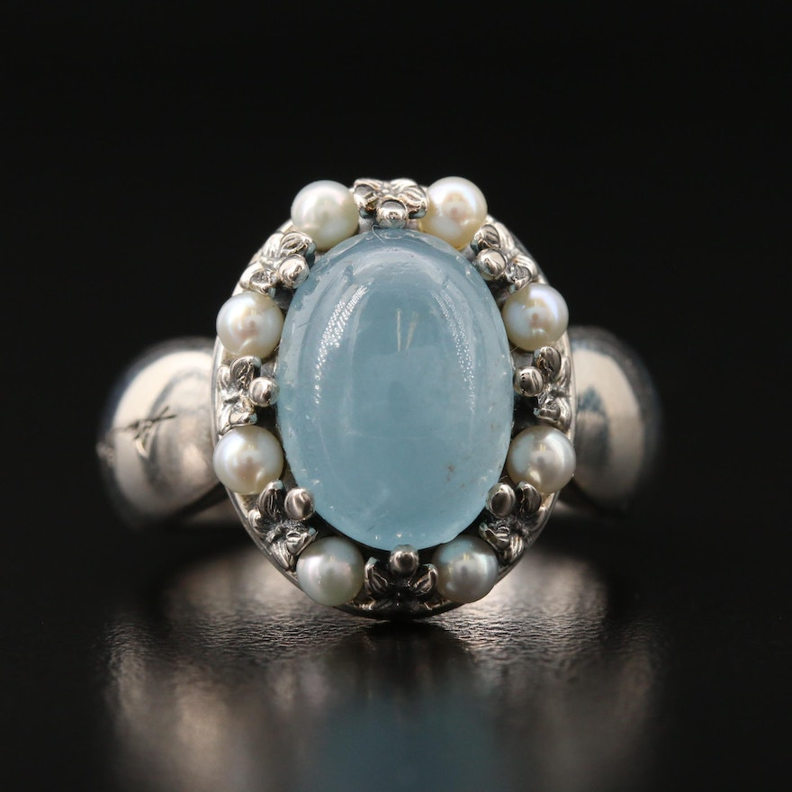 Ann King Sterling Aquamarine and Pearl Ring