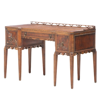Century Furniture Walnut and Oak Chinoiserie Pedestal Desk, Early 20th Century