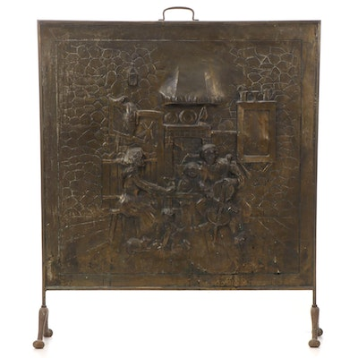 Brass Relief Sculpture Fireplace Screen, Early 20th Century