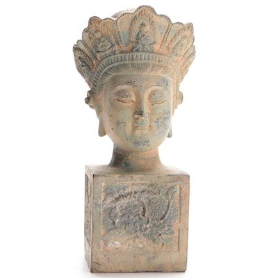 "Buddhist Kuan Yin ""Goddess of Compassion and Mercy"" Cast Bust, 20th C."