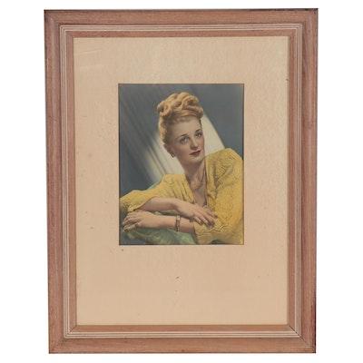 Studio Portrait Hand-Colored Silver Print, Mid-20th Century