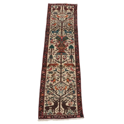 2'6 x 9'5 Hand-Knotted Persian Hamadan Pictorial Tree of Life Carpet Runner