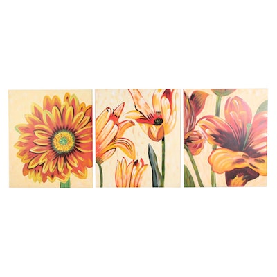 Triptych Acrylic Painting of Floral Composition, Late 20th to 21st Century