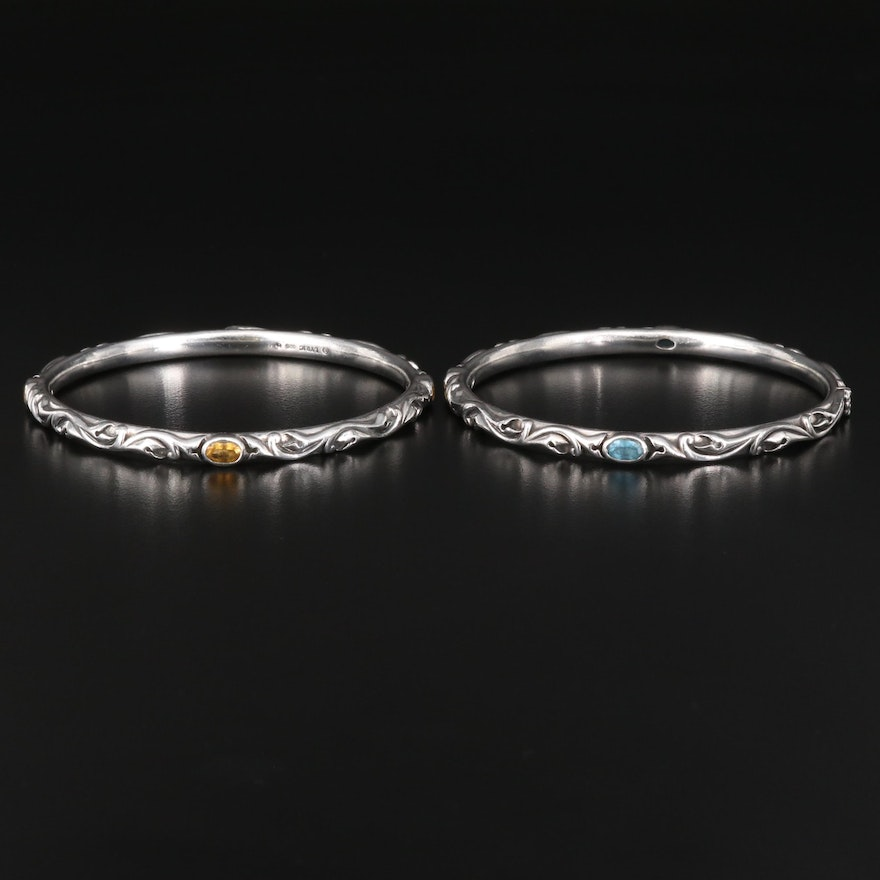 Lyric Sterling Silver Floral Bangle Bracelets with Topaz and Citrine Accents