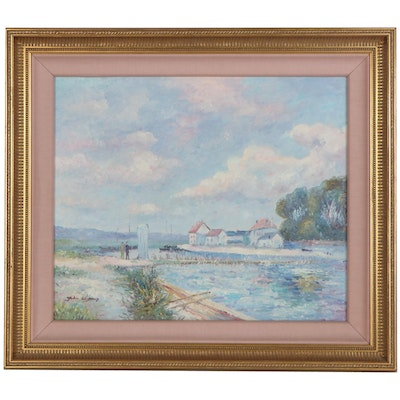 """John Clymer Oil Painting after Alfred Sisley """"The Dam - Loing at Saint-Mammes"""""""