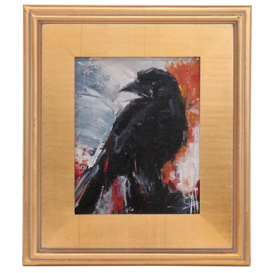 "Anne Thouthip Acrylic Painting ""Black Crow"""