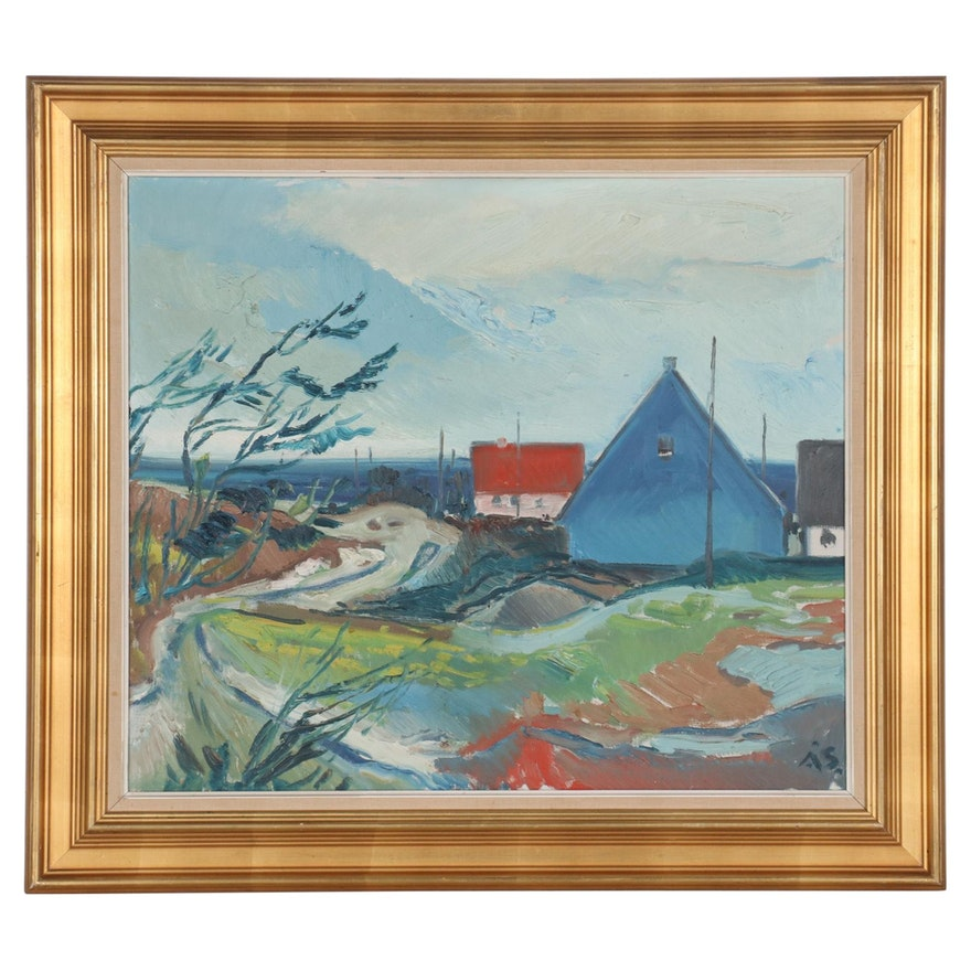 Aage Strand Abstract Oil Painting of Seaside Town, Mid to Late 20th Century