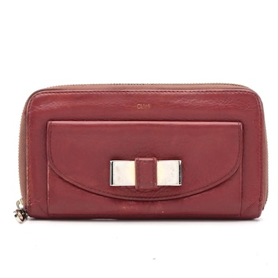 Modified Chloé Lily Bow Zip Around Wallet in Red Grained Leather