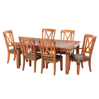 Contemporary Stone Top Pine Dining Set with Leaf Insert