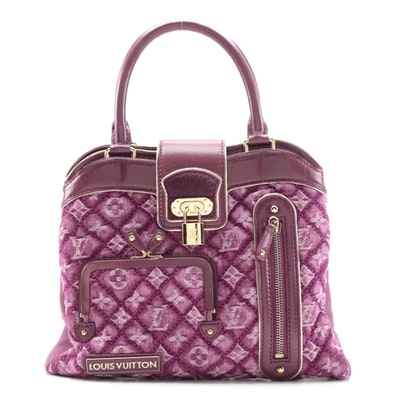 Louis Vuitton Quilted Monogram Denim Linda Bag with Leather and Pony Hair Trim