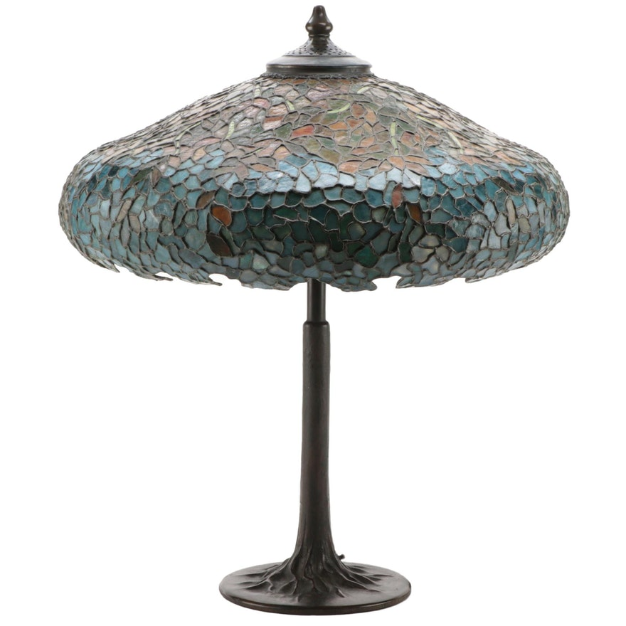 Handel Art Nouveau Brass Table Lamp with Floral Mosaic Slag Glass Shade