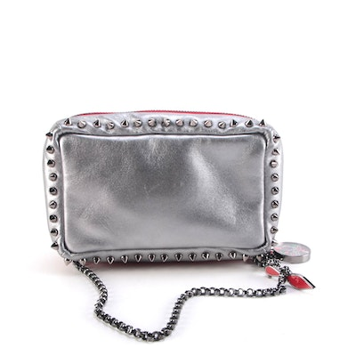 Christian Louboutin Spike Studded Silver Metallic and Red Leather Zip Bag