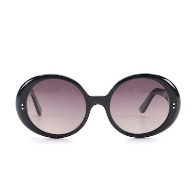 Celine CL400651 Black Acetate Round Sunglasses with Polarized Lenses
