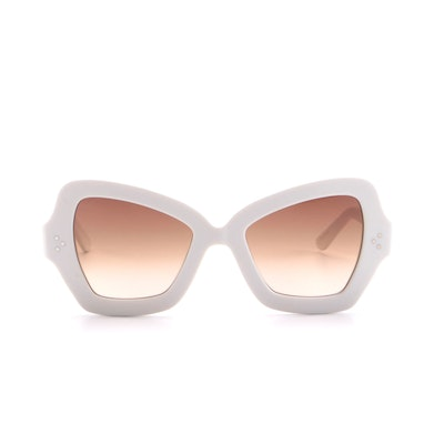 Celine CL400671 White Butterfly Acetate Sunglasses with Brown Gradient Lenses