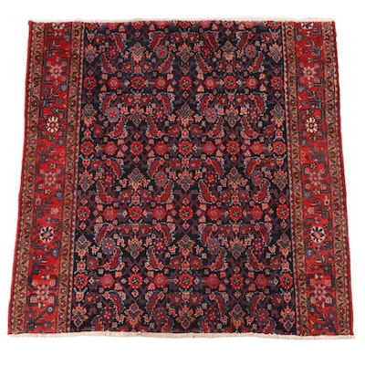 5'2 x 5'6 Hand-Knotted Persian Hamadan Wool Area Rug