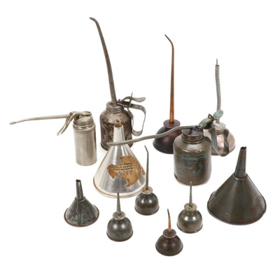 Metal Tump Pump and Pistol Oil Cans with Funnels, Mid-20th Century