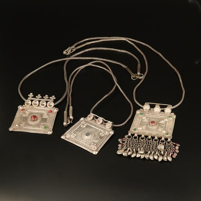 Rajasthani Indian 800 Silver House Amulet Necklaces