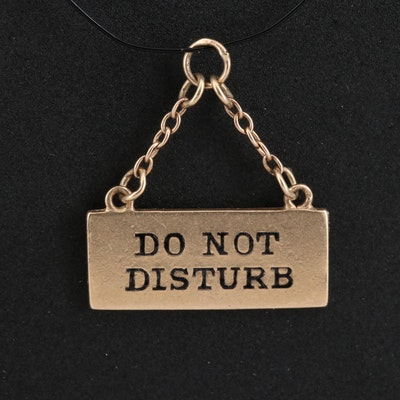 "Vintage 14K ""Do Not Disturb"" Sign Charm"