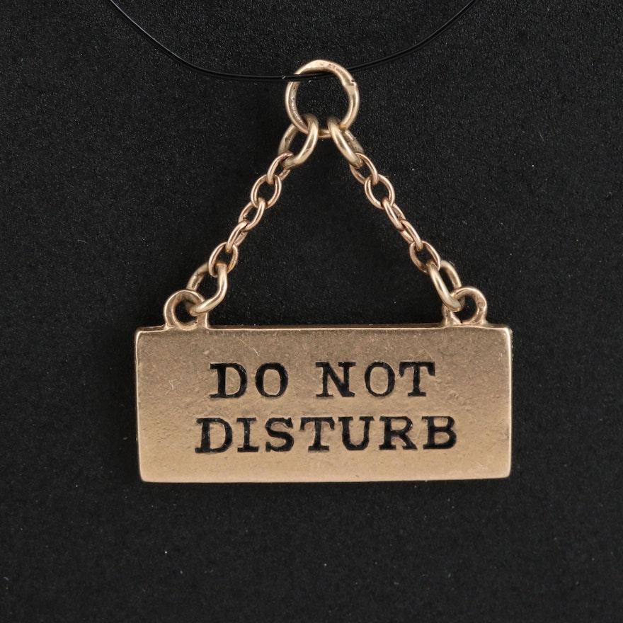 "Vintage 14K ""Do Not Disturb"" Sign Charm"