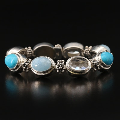 Michael Dawkins Sterling Turquoise, Rock Crystal Quartz and Beryl Bracelet