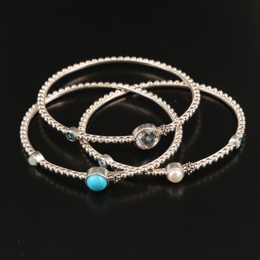 Michael Dawkins Sterling Oval Bangles with Topaz, Pearl, Turquoise and More
