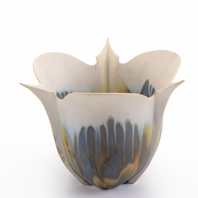 Petal-Shaped Drip Glazed Pottery, Late 20th Century