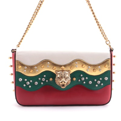 Gucci Studded Leather Animalier Flap Front Shoulder Bag