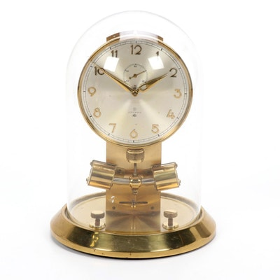 """Junghans """"ATO"""" Brass Anniversary Clock with Glass Dome, Mid-Late 20th Century"""