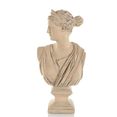 Painted Plaster Cast Bust of Neoclassical Artemis
