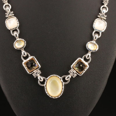 Michael Dawkins Sterling Silver Granulated Link Necklace with Gemstone Accents