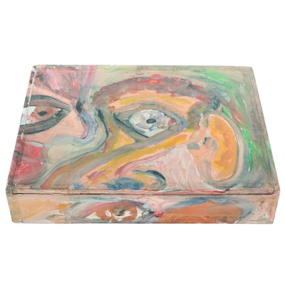 Robert Wright Figural Acrylic Painting on Wooden Cigar Box