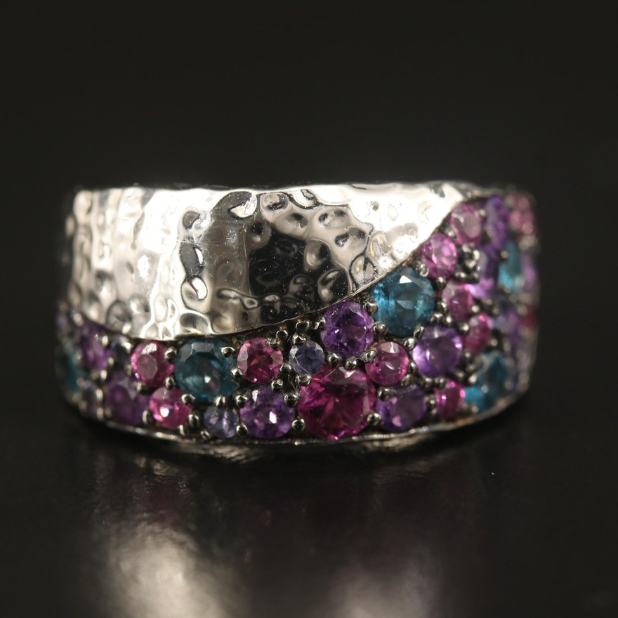 SeidenGang Sterling Rhodolite Garnet, Amethyst and Topaz Ring