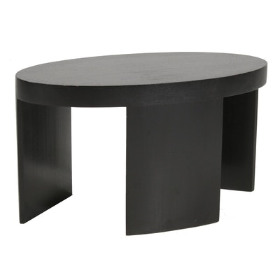 Lyle & Umbach Modern Black Wood Oval Coffee Table