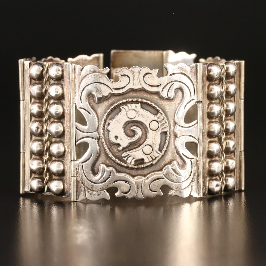 Vintage Mexican Sterling Silver Hinged Panel Bracelet with Mesoamerican Design