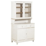 American Primitive White-Painted Wood Stepback Cupboard, Late 19th/Early 20th C.