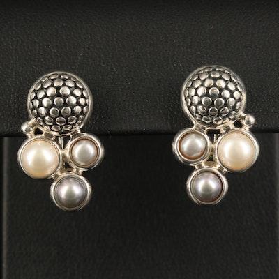 Michael Dawkins Sterling Pearl Earrings