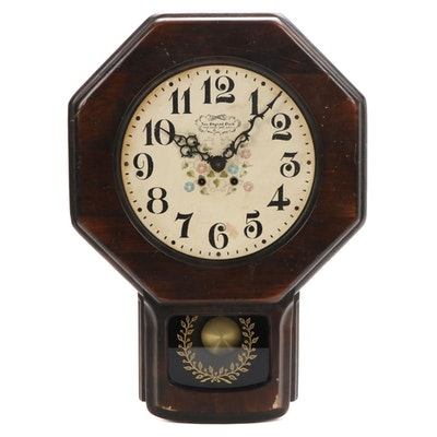 New England Clock Co. Wood Cased Wall Clock, Mid-20th Century