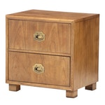 "Dixie Furniture ""Chevron"" Campaign Style Nightstand, Mid-20th Century"