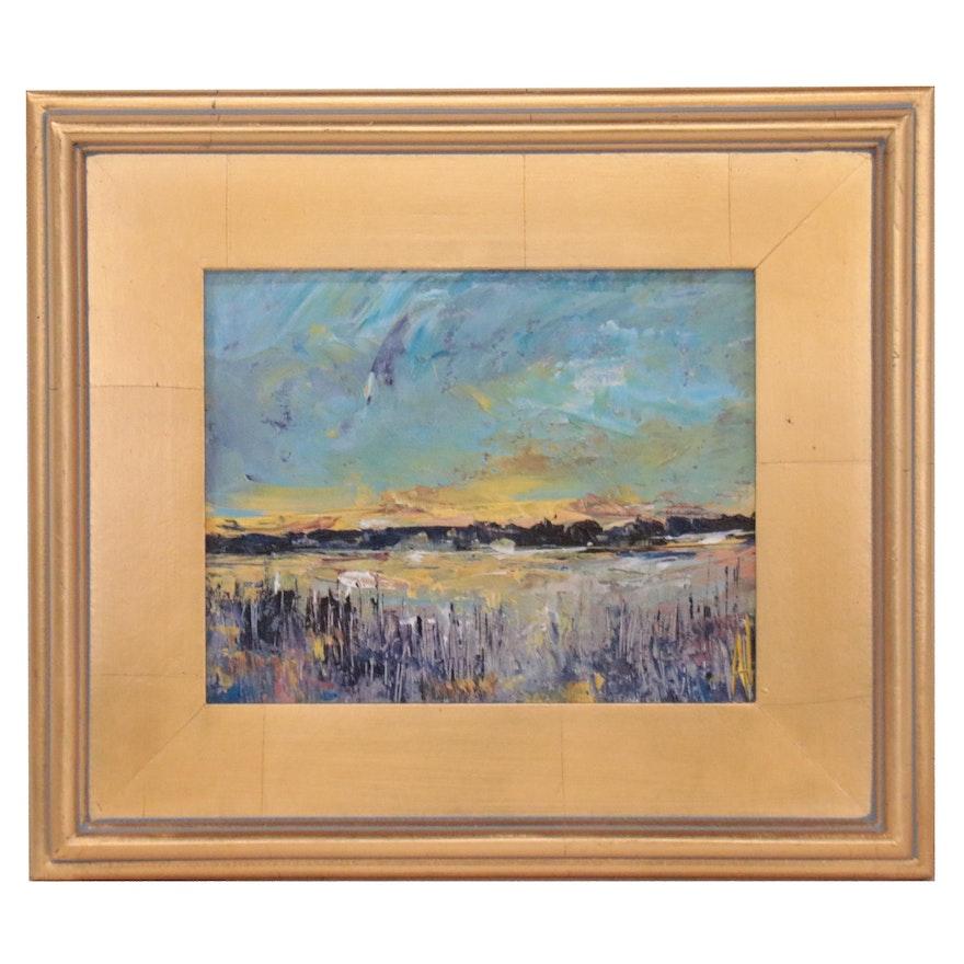 "Anne Thouthip Acrylic Painting ""Sunrise Gold"""