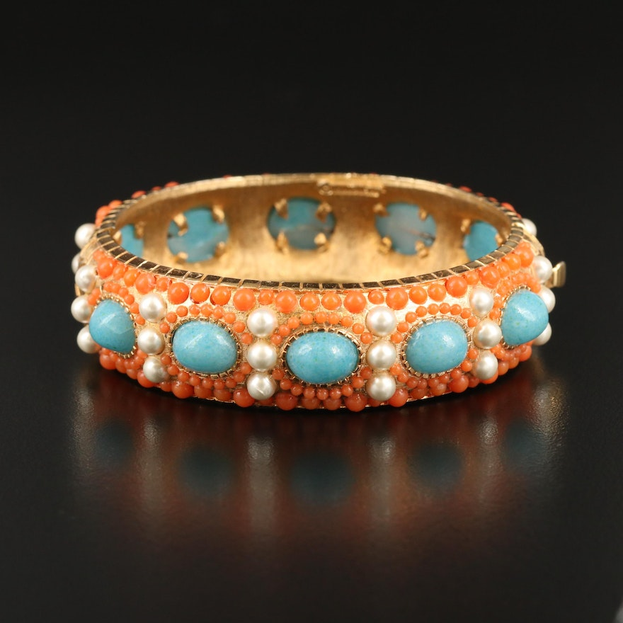 Vintage Boucher Pearl, Faux Turquoise and Coral Hinged Bangle