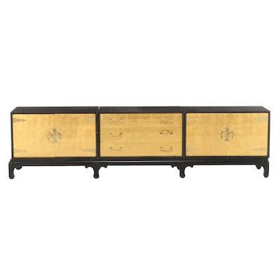Black Lacquered and Parcel-Gilt Three-Part Credenza, Attributed to Renzo Rutili