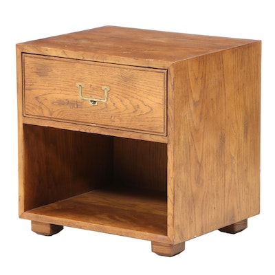 "Henredon ""Artefacts"" Campaign Style Oak Nightstand, Late 20th Century"