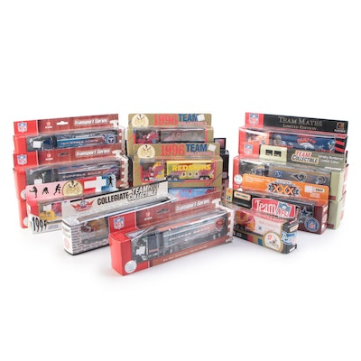 NFL Teams and Purdue Diecast Collectible Tractor Trailers Including Buccaneers