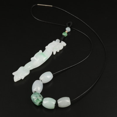 Chinese Inspired Carved Jadeite Pendant with 14K Accent and Bead Necklace