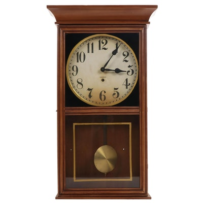 WM L Gilbert Clock Co Wood Cased Pendulum Wall Clock, Early to Mid 20th Century