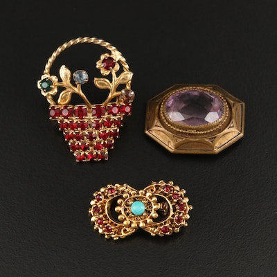 Vintage Amethyst, Rhinestone and Faux Turquoise Brooches