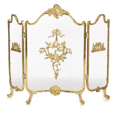 Rococo Style Cast Brass Folding Fireplace Screen, Late 20th Century