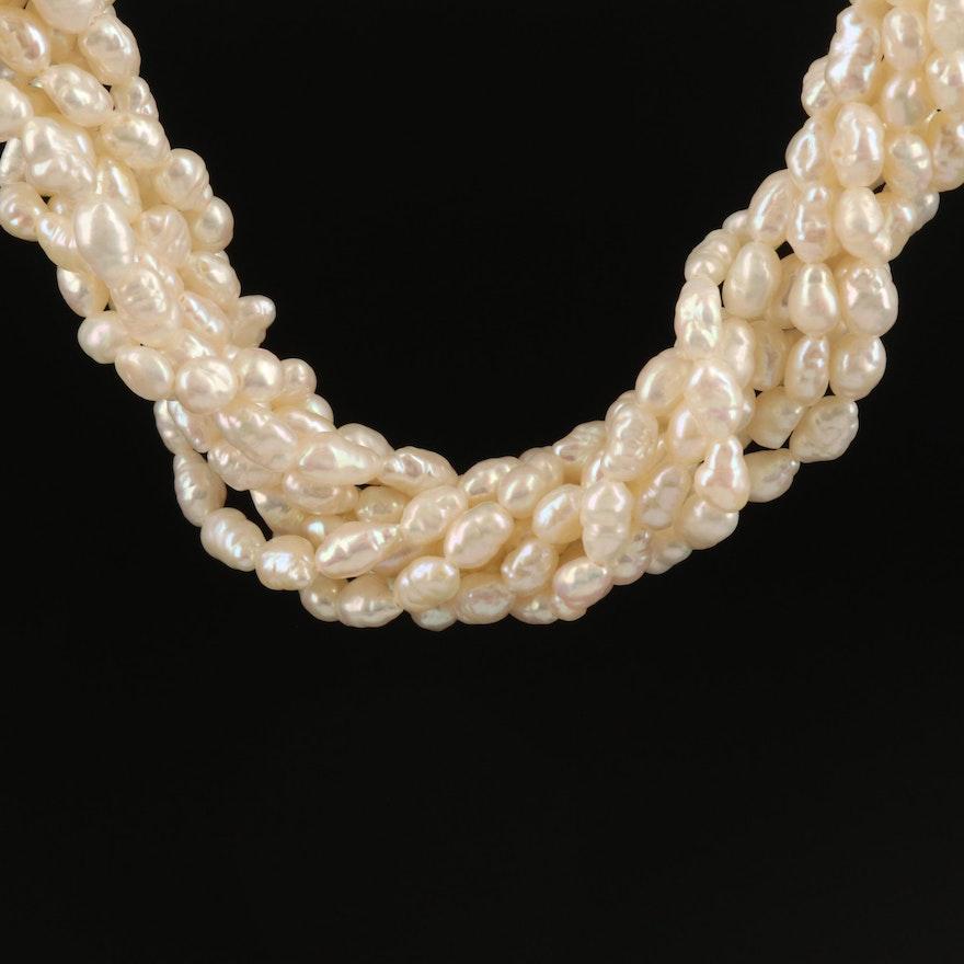 Baroque Pearl Torsade Necklace with 14K Clasp