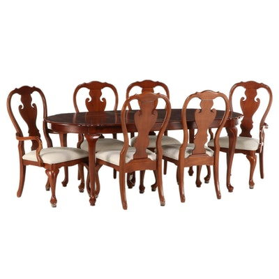 Queen Anne Style Walnut-Stained Expandable Dining Table with Six Chairs